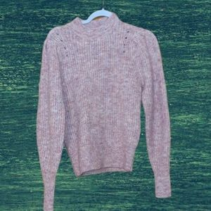Super Soft Pink Marled Cableknit Sweater XS NWT